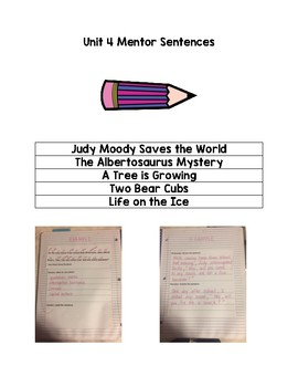 3rd Grade Journeys Unit 4 Mentor Sentence Bundle
