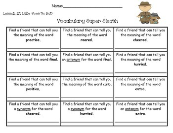 Journeys Unit 4 Vocabulary Super Sleuth - 2nd Grade