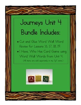 Journeys Unit 4 Word Wall Word Review Bundle