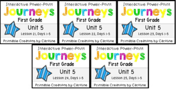Journeys Unit 5 BUNDLE Power Point Lessons 21-25 First Grade
