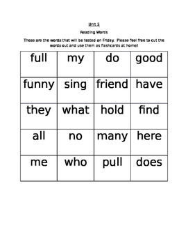 Journeys Unit 5 Flashcards - Reading words