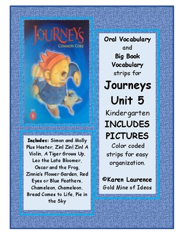 Journeys Unit 5 Kindergarten Oral and Big Book Vocabulary Strips WITH PICTURES