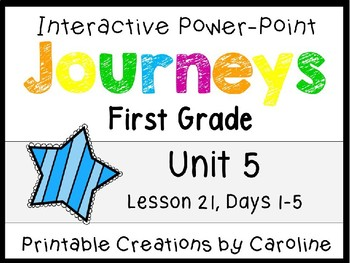 Journeys Unit 5 Lesson 21 Interactive Power Point, First Grade