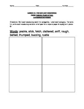 L3.6 Journeys Unit 5 Lesson 21 Vocabulary Homework Sarah P