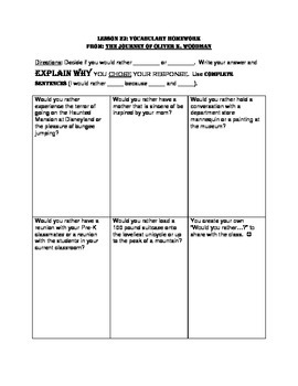 L3.6 Journeys Unit 5 Lesson 23 Vocabulary Homework Journey of Oliver K. Woodman