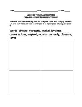 L3.6 Journeys Unit 5 Lesson 23 Vocabulary Homework Journey