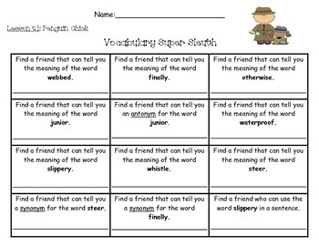 Journeys Unit 5 Vocabulary Super Sleuth Pack - 2nd Grade