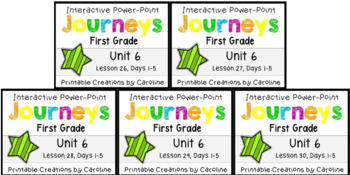 Journeys Unit 6 BUNDLE Power Points Lessons 26-30 First Grade