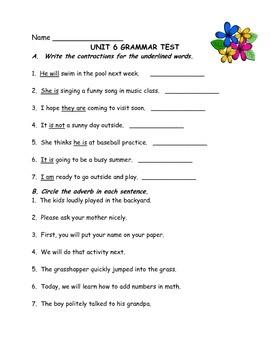 Journeys-Unit 6 Grammar Test