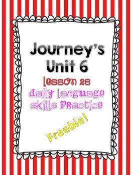 Journey's Unit 6 Lesson 26 Freebie Daily Language