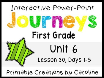 Journeys Unit 6 Lesson 30 Interactive Power Point, First Grade