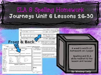 Journeys Unit 6 Weekly Homework for 2nd grade (Lessons 26-30)