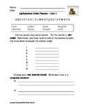 Journeys Unit Vocabulary ABC Order/Sentence Practice