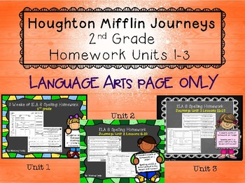 Journeys Units 1-3 Weekly LA Homework ONLY for 2nd grade (Lessons 1-15)