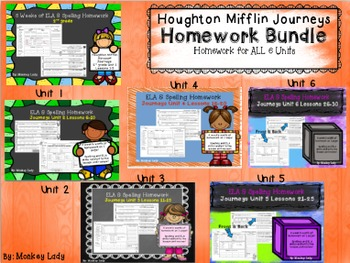 Journeys Units 1-6 Weekly Homework for 2nd grade (Lessons 1-30)
