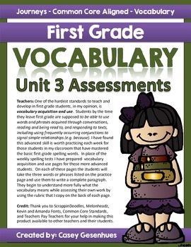 Journeys Vocabulary Acquisition and Use (Unit 3)