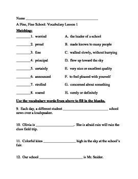 Journey's Vocabulary Activities: A Fine, Fine School - Third Grade