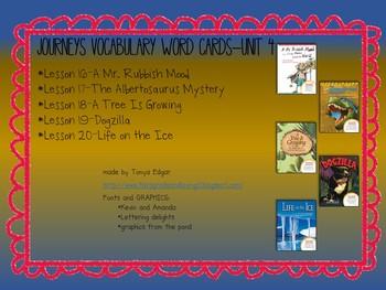 Journeys Vocabulary Cards-Unit 4