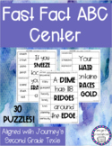 Journeys Vocabulary Fast Fact ABC Order Center Second Grade NO PREP