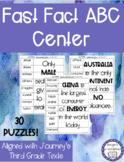 Journeys Vocabulary Fast Fact ABC Order Center Third Grade NO PREP