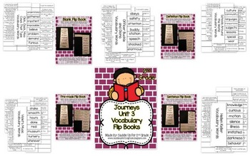 Journeys Vocabulary Flip Book BUNDLE: Units 1-3 2nd Grade