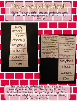 Journeys Vocabulary Flip Book: Unit 6 2nd Grade