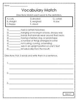 Journeys Vocabulary Match 2nd Grade