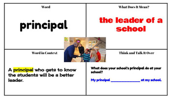 Journeys Vocabulary PowerPoint Lesson 1 A Fine, Fine School 3rd Grade