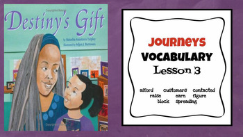 Journeys Vocabulary PowerPoint Lesson 3 Destiny's Gift 3rd Grade