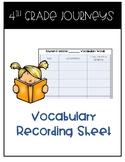 Journeys Vocabulary Recording Sheet
