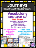 Journeys Vocabulary Task Cards for Unit Three