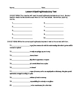 Journeys Vocabulary Test, Word List - When I Went to the Library (Editable)