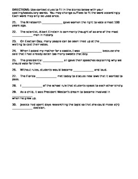 Journeys Vocabulary Test, Word List for I Could Do That (Editable)