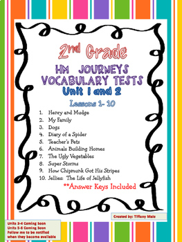 Journeys Vocabulary Tests 2nd Grade BUNDLE Units 1-6