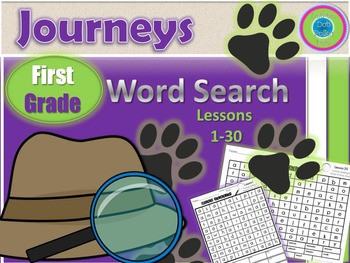 Journeys First Grade WORD Search- Spelling & High Frequency Words! 30 Lessons