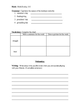 Journeys Week 2 Editable Homework Packet (My Family)