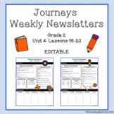 Journeys Weekly Newsletters (Editable) - Grade 2 Lessons 16-20