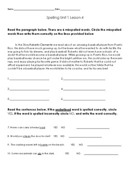 Journeys Weekly Spelling Assessments