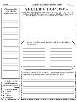 Journeys Weekly Spelling Homework Activity Sheets