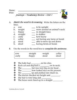 Journeys Weekly Unit Vocabulary Activities