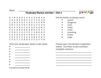 Journeys Weekly Vocabulary Word Work
