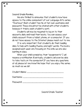 Journeys Welcome Letter