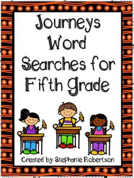 5th Grade Word Searches with Target Vocabulary from the 2011 Journeys series