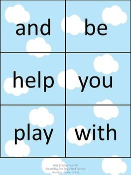 Journeys Word Wall, 1st Grade, Unit 1. Cloud theme!