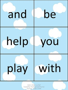 Journeys Word Wall, 1st Grade, Unit 1. Cloud theme!