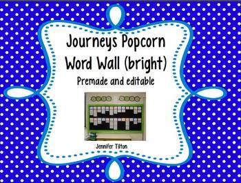 Journeys Kindergarten Word Wall-Popcorn Words-Bright Colors