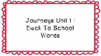 Journeys First Grade Word Wall Unit 1