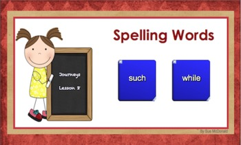 Journeys Word Work, Smart Board, Interactive Games, 18 Slides, Gr. 2, Lesson 8