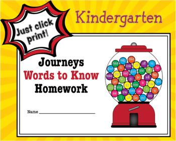 Journeys Words to Know - Kindergarten Homework