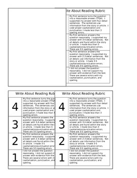 Journey's Write About Reading Rubric - EDITABLE